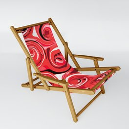 Red Apple Abstract Swirls Pattern Sling Chair