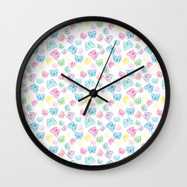Large Scale, I Love Butterflies White Background Large Wall Clock