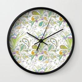 Whimsical Paisley Iris Wall Clock