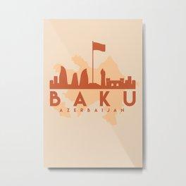 BAKU AZERBAIJAN CITY MAP SKYLINE EARTH TONES Metal Print