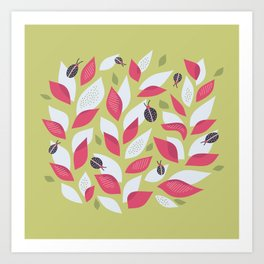 3f0a4e164 Pretty Plant With White Pink Leaves And Ladybugs Art Print