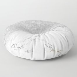 Modern faux grey silver glitter ombre white marble Floor Pillow