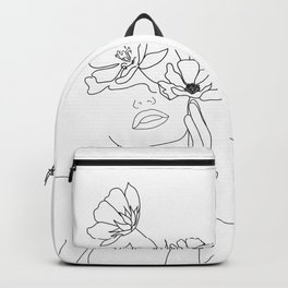 Minimal Line Art Woman with Flowers Backpack
