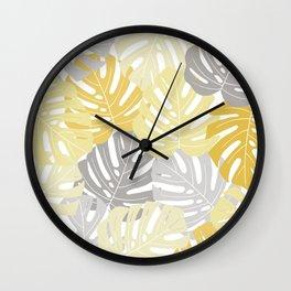 Yellow monstera deliciosa leaves Wall Clock