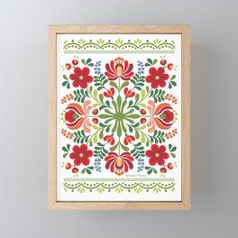Hungarian Folk Design Red and Pink Framed Mini Art Print