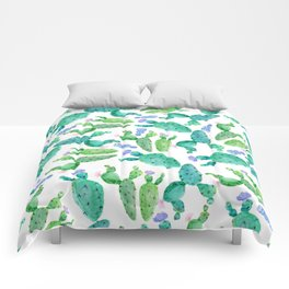 Watercolor hand painted violet green cactus floral Comforters