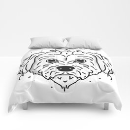 Doodle- black and white Comforters