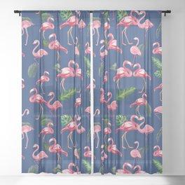 Flamingos Love Pattern 8 Sheer Curtain