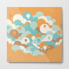 Balloons among clouds Metal Print