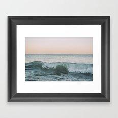 Sunset waves crashing Framed Art Print