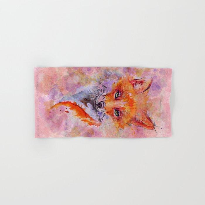 Watercolor colorful Fox Hand & Bath Towel