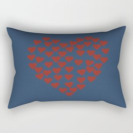 Hearts Heart Red on Navy Tex Rectangular Pillow