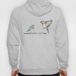 Bluebirds watercolour and ink Hoody