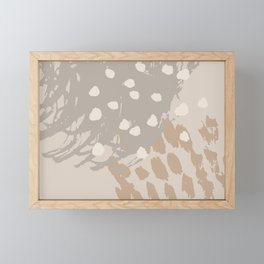 Expressive Marks Abstract Design in Neutral Colors Framed Mini Art Print