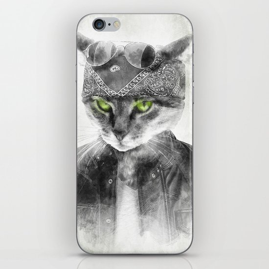 Biker Cat iPhone & iPod Skin