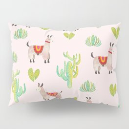 Cute alpacas with pink background Pillow Sham