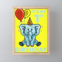 Cute 1st First Birthday Elephant Framed Mini Art Print
