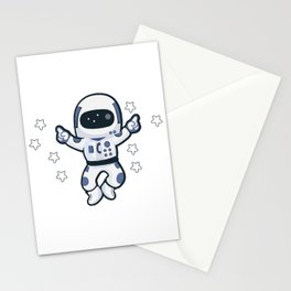 Astronaut Flying Across the Stars in Space While Dancing Stationery Cards