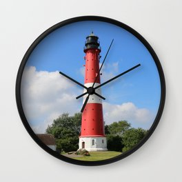 Red and White Lighthouse on Pellworm Island Wall Clock