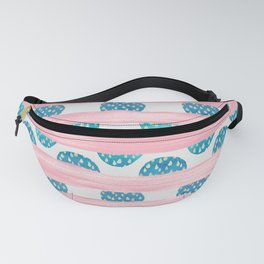 Watercolor geometric pink teal blue brushstrokes polka dots Fanny Pack