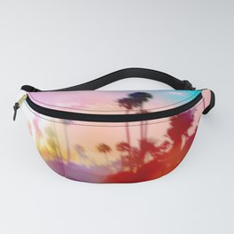 palm tree with sunset sky and light bokeh abstract background Fanny Pack