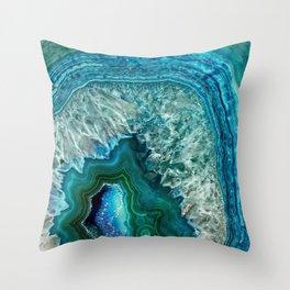 Aqua turquoise agate mineral gem stone Throw Pillow