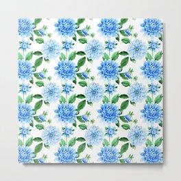 Hand painted sky blue green watercolor modern dahlia floral Metal Print