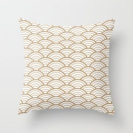 Gold white Art Deco shell pattern Throw Pillow