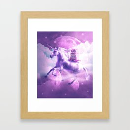 Kitty Cat Riding On Flying Space Galaxy Unicorn Framed Art Print