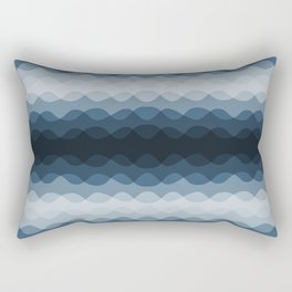 Mid Tone Ocean Blue Overlapping Wavy Line Pattern Pairs To 2020 Color of the Year Chinese Porcelain Rectangular Pillow