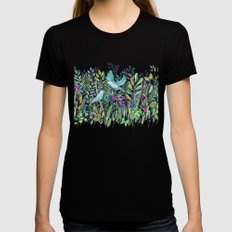 Little Garden Birds in Watercolor X-LARGE Black Womens Fitted Tee