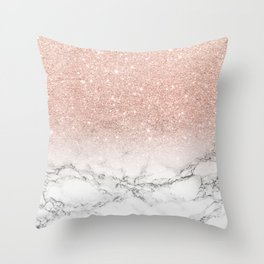 Modern faux rose pink glitter ombre white marble Throw Pillow