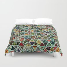 sun bear geo mint Duvet Cover