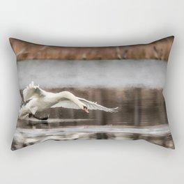 Swan Takeoff Rectangular Pillow
