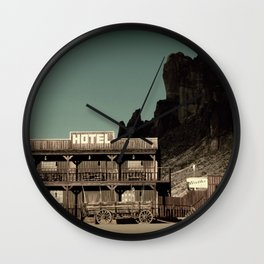 Old West Hotel fine art photography Wall Clock
