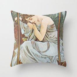 Alphonse Mucha Nocturnal Slumber Throw Pillow