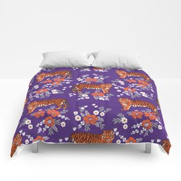 Tiger Clemson purple and orange florals university fan variety college football Comforters