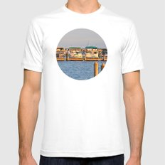 Docked Boats  Mens Fitted Tee White MEDIUM