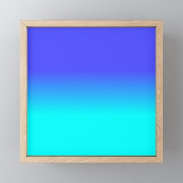 Neon Blue and Bright Neon Aqua Ombré Shade Color Fade Framed Mini Art Print