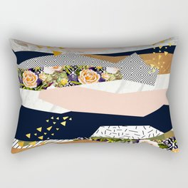 Collage of textured shapes and flowers Rectangular Pillow