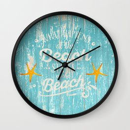 Happy Beach Life- Saying on aqua wood Wall Clock