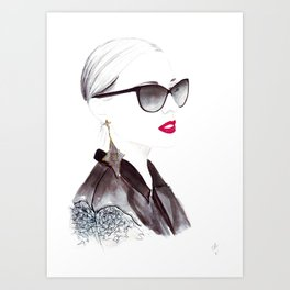 Watercolour Fashion Illustration Titled In Dior Zeli's Art Print