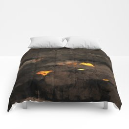 Abstract landscape nature texture lava fire geology digital illustration Comforters