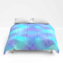 Cyan Blue and Violet Mermaid Tail Abstraction. Magic Fish Scale Pattern Comforters