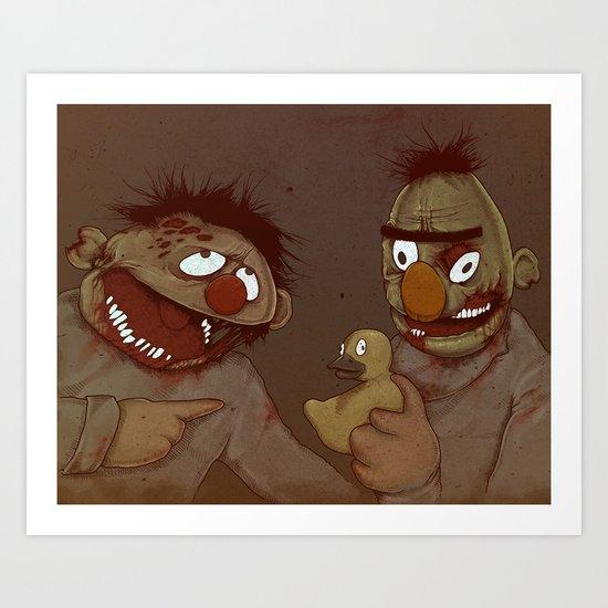 Bert and Ernie Zombies Art Print