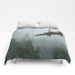 Battle for the Cedars - Bald Eagles Wildlife Scene Comforters