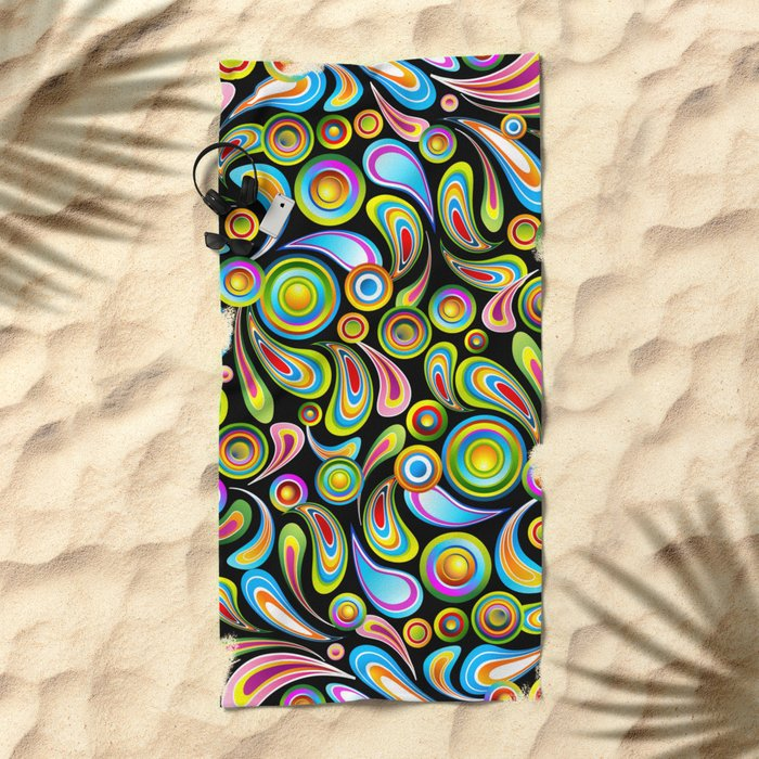 Psychedelic Color Drops Abstract Art Design Beach Towel