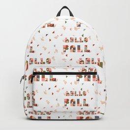 Hello Fall Rose Dust + Mint Geometric Boho Typography Art Backpack