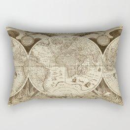 Antique world map with sail ships, sepia Rectangular Pillow