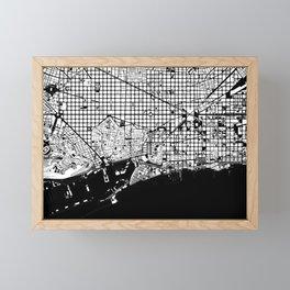 Barcelona city map black and white Framed Mini Art Print
